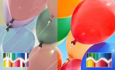 Baloane care demonstrează gama cromatică extinsă a ecranului TRILUMINOS