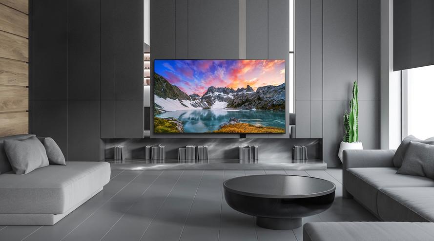Televizor care prezintă o vedere de la nivelul ochilor a naturii într-un decor cu o casă luxoasă
