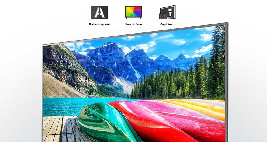 Reducerea zgomotului, culori dinamice și o amplificare a pictogramelor și un ecran TV care afișează o imagine cu un peisaj montan, o pădure și un lac.