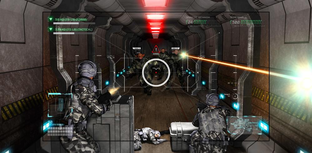 Televizor care prezintă o scenă dintr-un joc tip shooter, în care jucătorul este copleșit de extratereștri cu arme.